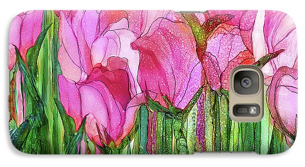 Galaxy Case featuring the mixed media Tulip Bloomies 4 - Pink by Carol Cavalaris