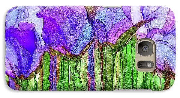 Galaxy Case featuring the mixed media Tulip Bloomies 4 - Purple by Carol Cavalaris