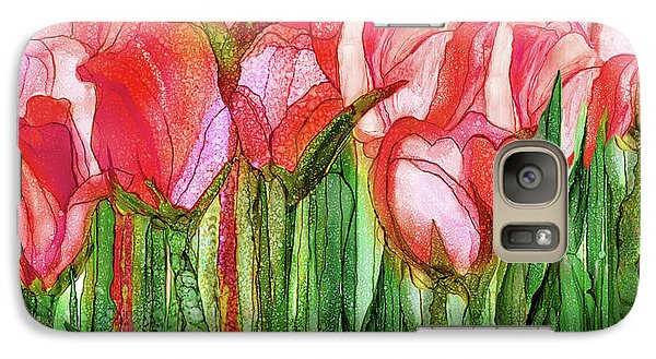 Galaxy Case featuring the mixed media Tulip Bloomies 4 - Red by Carol Cavalaris