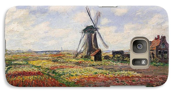 Tulip Fields With The Rijnsburg Windmill Galaxy Case by Claude Monet