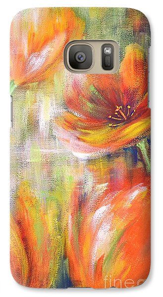 Galaxy Case featuring the painting Tulip Freedom by Kathleen Pio