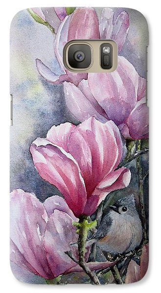 Galaxy Case featuring the painting Tulips And Titmouse by Mary McCullah