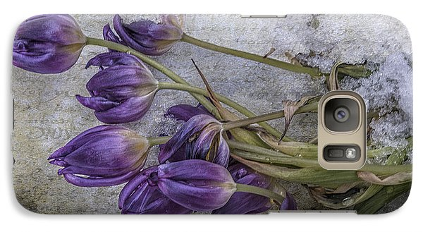 Galaxy Case featuring the mixed media Tulips Frozen by Terry Rowe