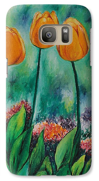 Galaxy Case featuring the painting The Three Tulips by Miriam Shaw