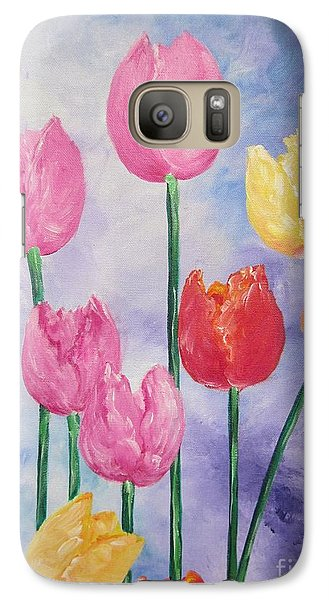 Galaxy Case featuring the painting Tulips - Red-yellow-pink by Sigrid Tune