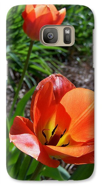 Galaxy Case featuring the photograph Tulips Wearing Orange by Sandi OReilly
