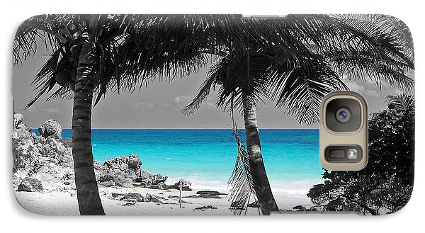 Galaxy Case featuring the digital art Tulum Mexico Beach Color Splash Black And White by Shawn O'Brien