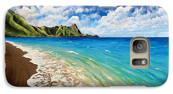 Galaxy Case featuring the painting Tunnels Beach by Chad Berglund