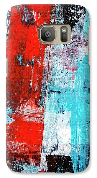 Galaxy Case featuring the painting Turquoise And Red Abstract Painting by Christina Rollo
