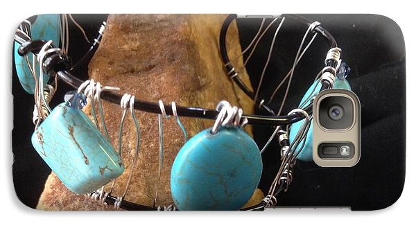 Galaxy Case featuring the jewelry Turquoise Cabochon Bracelet by J Cheyenne Howell