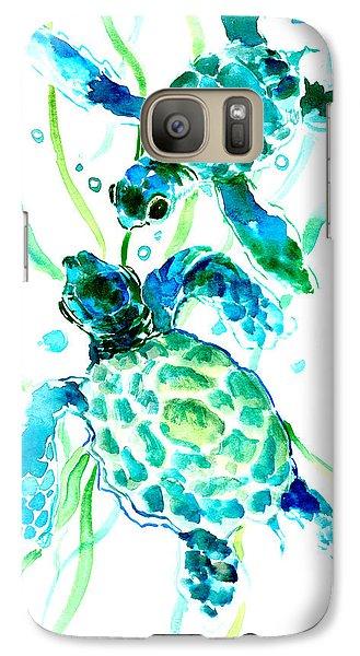 Turquoise Indigo Sea Turtles Galaxy S7 Case