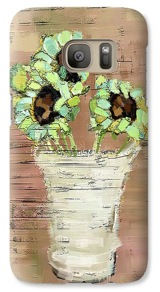 Galaxy Case featuring the painting Turquoise Sunflowers by Carrie Joy Byrnes