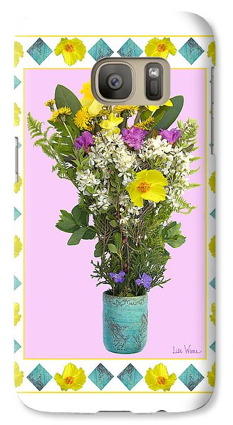 Galaxy Case featuring the digital art Turquoise Vase With Spring Bouquet by Lise Winne