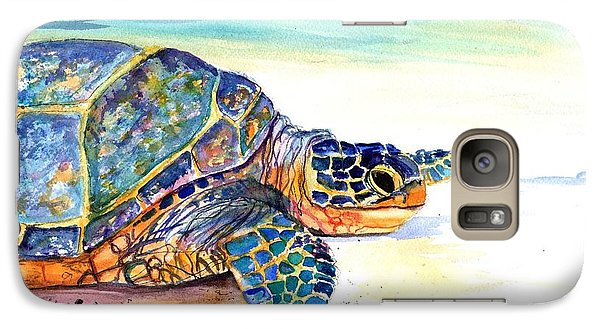 Galaxy Case featuring the painting Turtle At Poipu Beach 2 by Marionette Taboniar