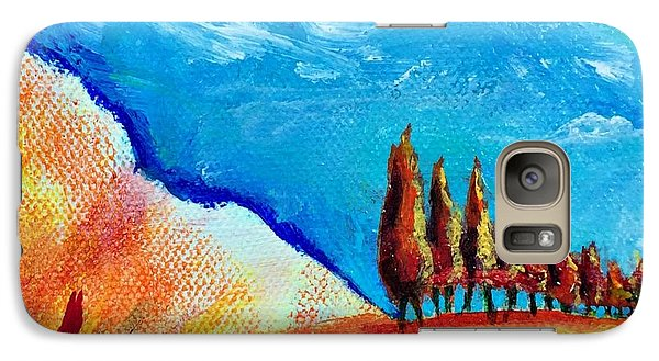 Galaxy Case featuring the painting Tuscan Cypress by Elizabeth Fontaine-Barr