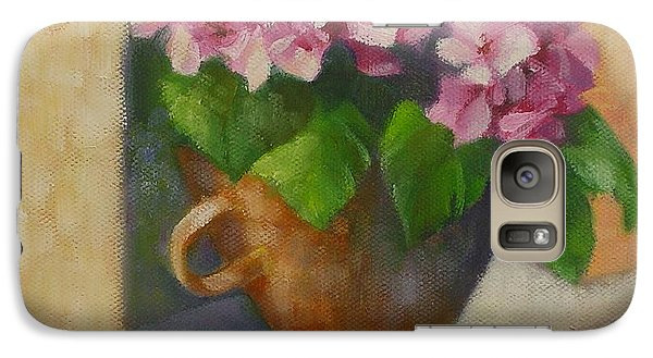 Galaxy Case featuring the painting Tuscan Flower Pot Oil Painting by Chris Hobel