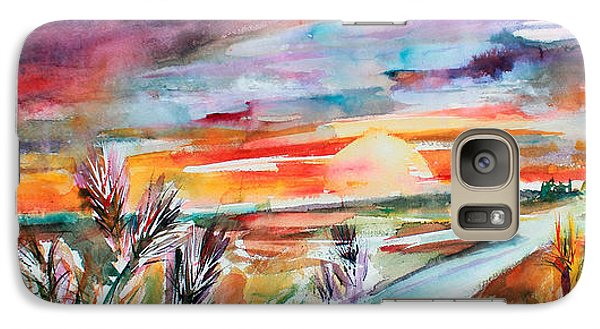 Galaxy Case featuring the painting Tuscany Landscape Autumn Sunset Fields Of Rye by Ginette Callaway