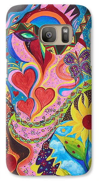 Galaxy Case featuring the painting Hearts And Flowers by Marina Petro