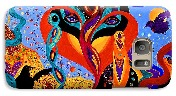 Galaxy Case featuring the painting Karmic Lovers by Marina Petro