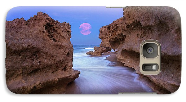 Galaxy Case featuring the photograph Twilight Moon Rising Over Hutchinson Island Beach Rocks by Justin Kelefas