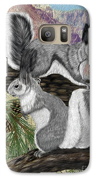 Galaxy Case featuring the digital art Two Abret Squirrels by Walter Colvin