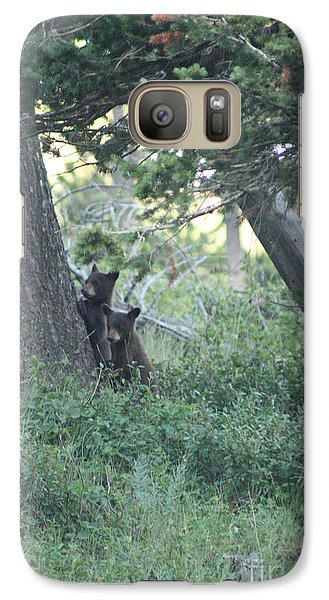Galaxy Case featuring the photograph Two Bear Cubs by Mary Mikawoz