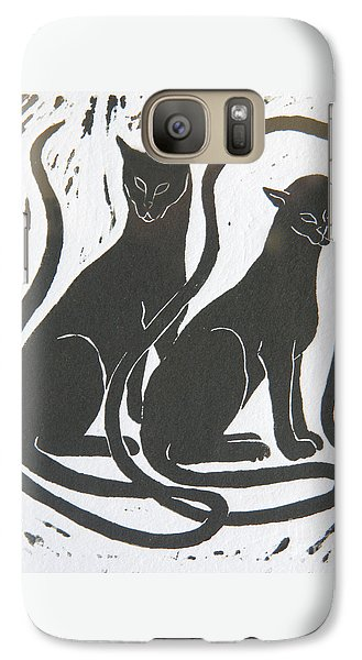 Galaxy Case featuring the drawing Two Black Felines by Nareeta Martin