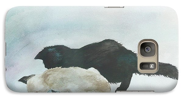 Galaxy Case featuring the painting Two Cats In A Tub by Anne Gifford