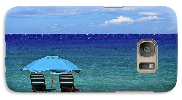 Galaxy Case featuring the photograph Two Chairs And An Umbrella by James Eddy