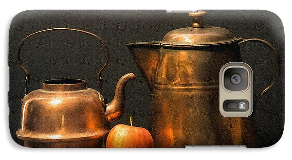 Galaxy Case featuring the photograph Two Copper Pots And An Apple by Frank Wilson