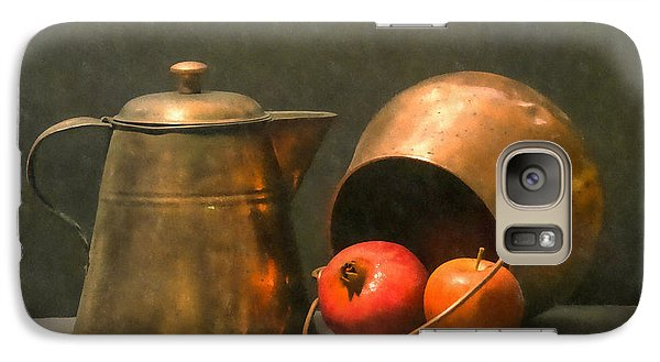 Galaxy Case featuring the photograph Two Copper Pots Pomegranate And An Apple by Frank Wilson