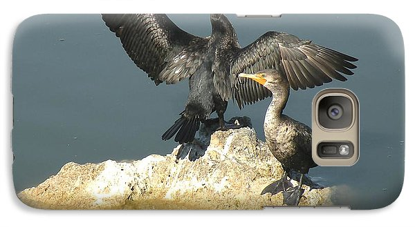 Galaxy Case featuring the photograph Two Cormorants by Rosalie Scanlon