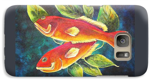 Galaxy Case featuring the painting Two Fish by Patricia Piffath