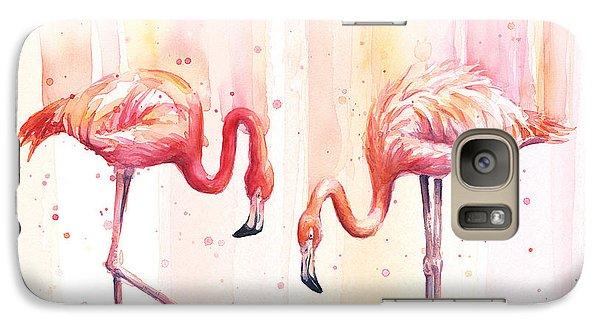 Flamingo Galaxy S7 Case - Two Flamingos Watercolor by Olga Shvartsur