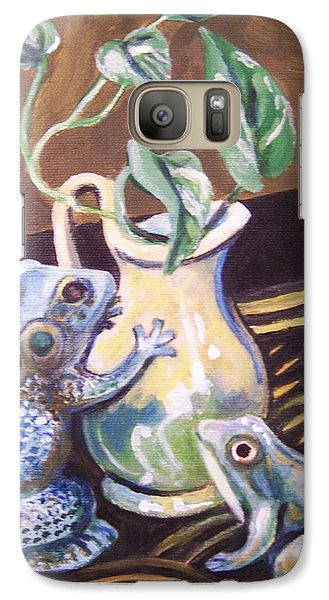 Galaxy Case featuring the painting Two Frogs by Laura Aceto