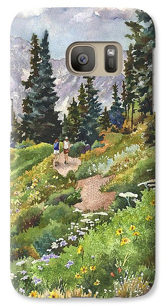 Galaxy Case featuring the painting Two Hikers by Anne Gifford