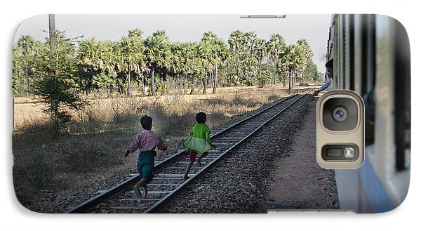 Galaxy Case featuring the photograph Two Kids Run Along And Follow Train In Burma by Jason Rosette