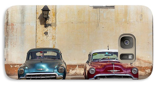 Galaxy Case featuring the photograph Two Old Vintage Chevys Havana Cuba by Charles Harden