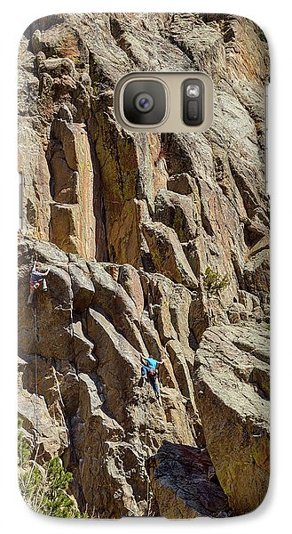 Galaxy Case featuring the photograph Two Rock Climbers Making Their Way by James BO Insogna