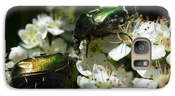 Galaxy Case featuring the photograph Two Scarabs Metallic Green by Jean Bernard Roussilhe