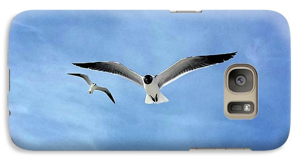 Galaxy Case featuring the photograph Two Seagulls Against A Blue Sky by Jeanne Forsythe