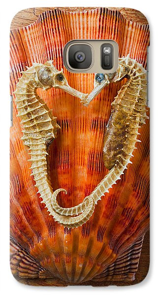 Seahorse Galaxy S7 Case - Two Seahorses On Seashell by Garry Gay