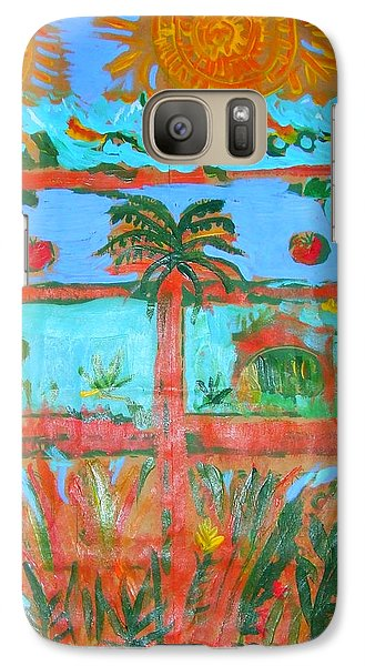 Galaxy Case featuring the painting Two Suns Today by Angela Annas