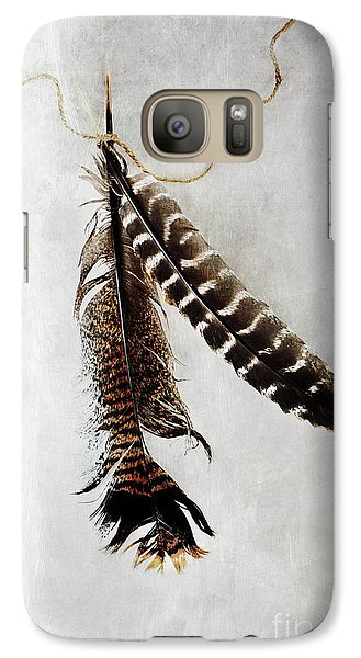 Galaxy Case featuring the photograph Two Tattered Turkey Feathers by Stephanie Frey