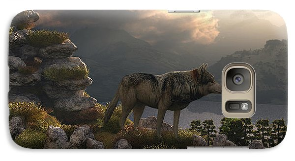 Galaxy Case featuring the digital art Two Wolfs On A Lookout  by Walter Colvin