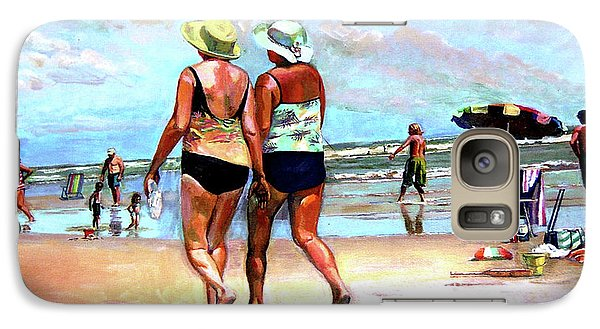 Galaxy Case featuring the painting Two Women Walking On The Beach by Stan Esson