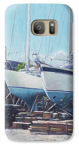 Galaxy Case featuring the painting Two Yachts Receiving Maintenance In A Yard by Martin Davey