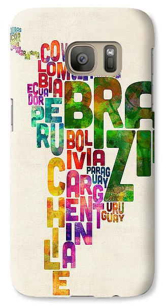 Typography Map Of Central And South America Galaxy Case by Michael Tompsett