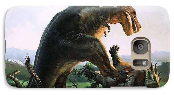 Tyrannosaurus Rex Eating A Styracosaurus Galaxy S7 Case by William Francis Phillipps