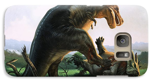 Tyrannosaurus Rex Eating A Styracosaurus Galaxy Case by William Francis Phillipps
